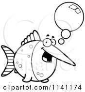 Cartoon Clipart Of A Black And White Talking Swordfish Vector Outlined Coloring Page by Cory Thoman