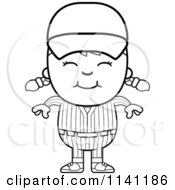 Cartoon Clipart Of A Black And White Happy Baseball Girl Vector Outlined Coloring Page