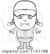 Cartoon Clipart Of A Black And White Angry Baseball Girl Vector Outlined Coloring Page