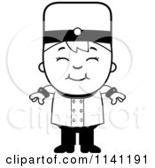Cartoon Clipart Of A Black And White Bellhop Hotel Boy Smiling Vector Outlined Coloring Page by Cory Thoman