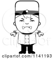 Cartoon Clipart Of A Black And White Mad Bellhop Hotel Boy Vector Outlined Coloring Page by Cory Thoman