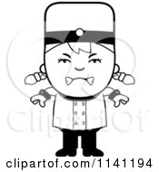 Cartoon Clipart Of A Black And White Mad Bellhop Hotel Girl Vector Outlined Coloring Page by Cory Thoman