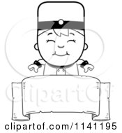 Cartoon Clipart Of A Black And White Bellhop Hotel Boy Over A Banner Vector Outlined Coloring Page by Cory Thoman
