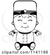 Cartoon Clipart Of A Black And White Bellhop Hotel Boy Sitting Vector Outlined Coloring Page by Cory Thoman