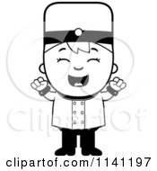 Cartoon Clipart Of A Black And White Bellhop Hotel Boy Cheering Vector Outlined Coloring Page by Cory Thoman