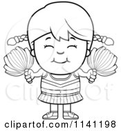 Cartoon Clipart Of A Black And White Happy Cheerleader Girl Vector Outlined Coloring Page