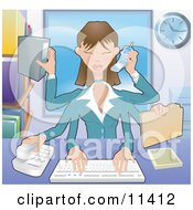 Poster, Art Print Of Busy Multi Tasking Assistant Secretary Woman Typing Filing Organizing And Taking Phone Calls