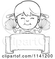 Cartoon Clipart Of A Black And White Happy Cheerleader Girl Over A Sign Vector Outlined Coloring Page