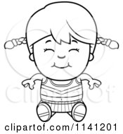 Cartoon Clipart Of A Black And White Happy Cheerleader Girl Sitting Vector Outlined Coloring Page
