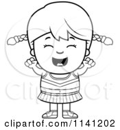 Cartoon Clipart Of A Black And White Happy Cheerleader Girl Cheering Vector Outlined Coloring Page