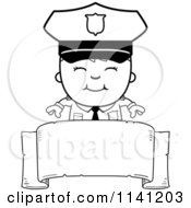 Cartoon Clipart Of A Black And White Happy Police Boy Over A Banner Vector Outlined Coloring Page