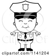 Cartoon Clipart Of A Black And White Happy Police Boy Vector Outlined Coloring Page
