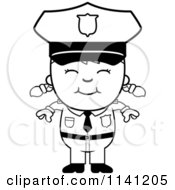 Cartoon Clipart Of A Black And White Happy Police Girl Vector Outlined Coloring Page
