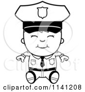 Cartoon Clipart Of A Black And White Happy Police Boy Sitting Vector Outlined Coloring Page
