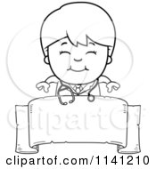 Cartoon Clipart Of A Black And White Happy Doctor Or Veterinarian Boy Over A Banner Sign Vector Outlined Coloring Page