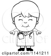 Cartoon Clipart Of A Black And White Happy Doctor Or Veterinarian Boy Vector Outlined Coloring Page