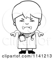 Cartoon Clipart Of A Black And White Angry Doctor Or Veterinarian Boy Vector Outlined Coloring Page