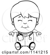 Cartoon Clipart Of A Black And White Happy Doctor Or Veterinarian Boy Sitting Vector Outlined Coloring Page