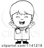 Cartoon Clipart Of A Black And White Happy Doctor Or Veterinarian Boy Cheering Vector Outlined Coloring Page