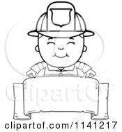 Cartoon Clipart Of A Black And White Happy Fire Fighter Boy Over A Blank Banner Vector Outlined Coloring Page