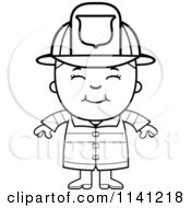 Cartoon Clipart Of A Black And White Happy Fire Fighter Boy Vector Outlined Coloring Page