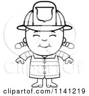 Cartoon Clipart Of A Black And White Happy Fire Fighter Girl Vector Outlined Coloring Page