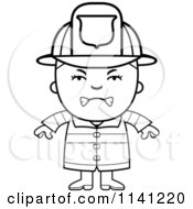 Cartoon Clipart Of A Black And White Angry Fire Fighter Boy Vector Outlined Coloring Page