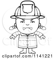 Cartoon Clipart Of A Black And White Angry Fire Fighter Girl Vector Outlined Coloring Page
