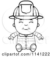Cartoon Clipart Of A Black And White Happy Fire Fighter Boy Sitting Vector Outlined Coloring Page