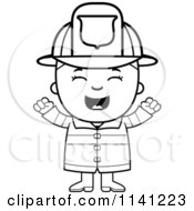 Cartoon Clipart Of A Black And White Happy Fire Fighter Boy Cheering Vector Outlined Coloring Page