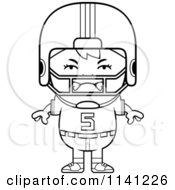 Cartoon Clipart Of A Black And White Angry Football Player Boy Vector Outlined Coloring Page