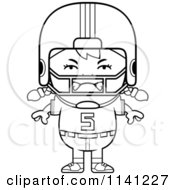 Cartoon Clipart Of A Black And White Angry Football Player Girl Vector Outlined Coloring Page