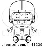 Cartoon Clipart Of A Black And White Happy Football Player Boy Sitting Vector Outlined Coloring Page