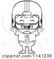Cartoon Clipart Of A Black And White Happy Football Player Boy Cheering Vector Outlined Coloring Page