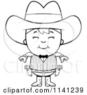 Cartoon Clipart Of A Black And White Happy Gunslinger Boy Vector Outlined Coloring Page