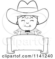 Cartoon Clipart Of A Black And White Happy Gunslinger Boy Over A Banner Vector Outlined Coloring Page