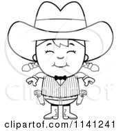 Cartoon Clipart Of A Black And White Happy Gunslinger Girl Vector Outlined Coloring Page