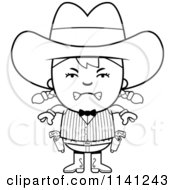 Cartoon Clipart Of A Black And White Angry Gunslinger Girl Vector Outlined Coloring Page