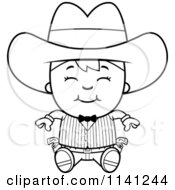 Cartoon Clipart Of A Black And White Happy Gunslinger Boy Sitting Vector Outlined Coloring Page