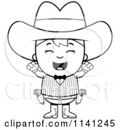 Cartoon Clipart Of A Black And White Happy Gunslinger Boy Cheering Vector Outlined Coloring Page