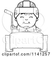 Cartoon Clipart Of A Black And White Happy Hockey Boy Over A Banner Sign Vector Outlined Coloring Page