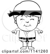 Cartoon Clipart Of A Black And White Happy Martial Arts Karate Boy Vector Outlined Coloring Page