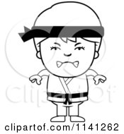Cartoon Clipart Of A Black And White Angry Martial Arts Karate Boy Vector Outlined Coloring Page