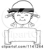 Cartoon Clipart Of A Black And White Happy Martial Arts Karate Girl Over A Banner Sign Vector Outlined Coloring Page