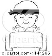 Cartoon Clipart Of A Black And White Happy Martial Arts Karate Boy Over A Banner Sign Vector Outlined Coloring Page