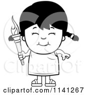 Cartoon Clipart Of A Black And White Happy Girl Holding An Olympic Torch Vector Outlined Coloring Page