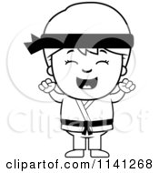 Cartoon Clipart Of A Black And White Happy Martial Arts Karate Boy Cheering Vector Outlined Coloring Page