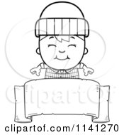 Cartoon Clipart Of A Black And White Happy Lumberjack Boy Over A Banner Sign Vector Outlined Coloring Page