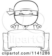 Cartoon Clipart Of A Black And White Happy Ninja Boy Over A Banner Sign Vector Outlined Coloring Page