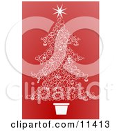 Christmas Tree Made Of White Swirls Over Red Clipart Illustration